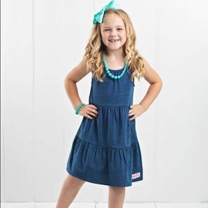 Ruffle Girl Faux Denim Tiered Ruffle Dress